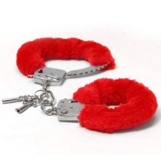 Novelty Fluffy Handcuffs Red