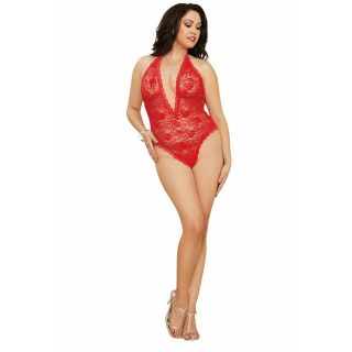 Diamond Stretch Lace Halter Teddy - Red Queen Size