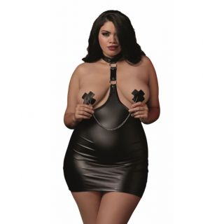 Dreamgirl Leatherette Chemise with Nipple Clamps - Queen Size