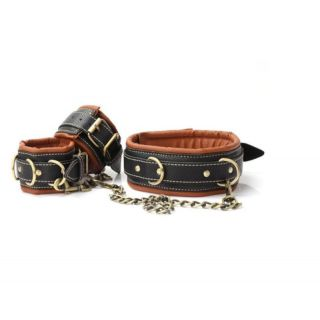 Black and Brown Leather Collar and Cuffs Set