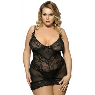 Plus Size Flower Lace Elegant Sexy Camisole Baby Doll 16-18