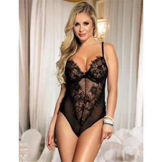 Black Sheer Mesh Backless Teddy With Underwire 8-10