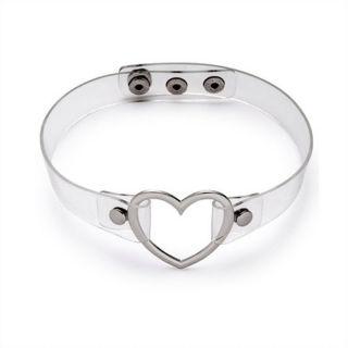 Clear Choker + Silver Heart
