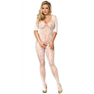 White Fishnet & Lace Crotchless Floral Bodystocking 8-12
