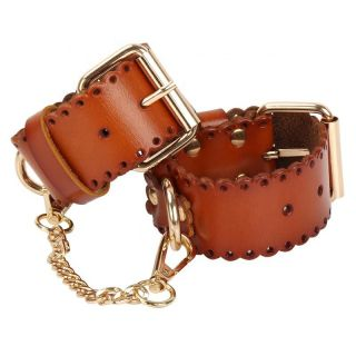 MUQU Brown Faux Leather Restraint Cuffs