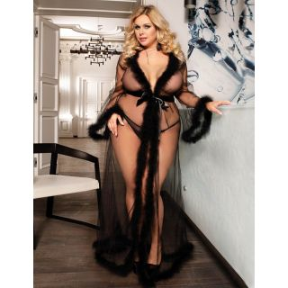 Queen Size Sheer Black Robe With Faux Fur Accents 16-18