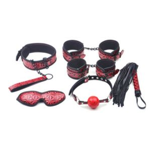 6 Piece Red Embossed Small Bondage Kit
