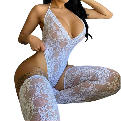 White Lace Sleeveless See-Through Backless Deep V-Neck Bodysuit with Stocking 8-10