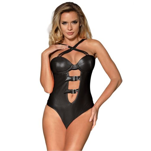 Black Leatherette Women Sexy Teddy 12-14