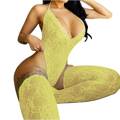 Yellow Lace Sleeveless See-Through Backless Deep V-Neck Bodysuit with Stocking 8-10