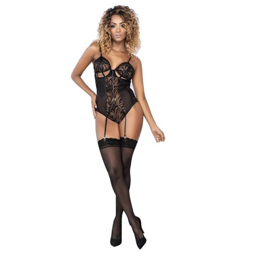 Mapale Mesh and Lace Teddy with Attached Garters 10