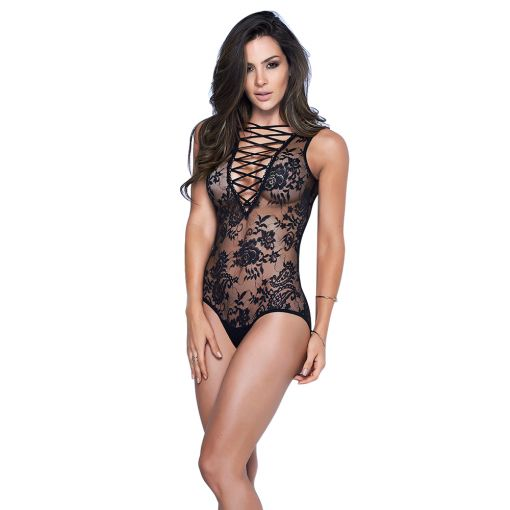 Mapale Black Criss Cross Lace Up Front Floral Etched Teddy 10