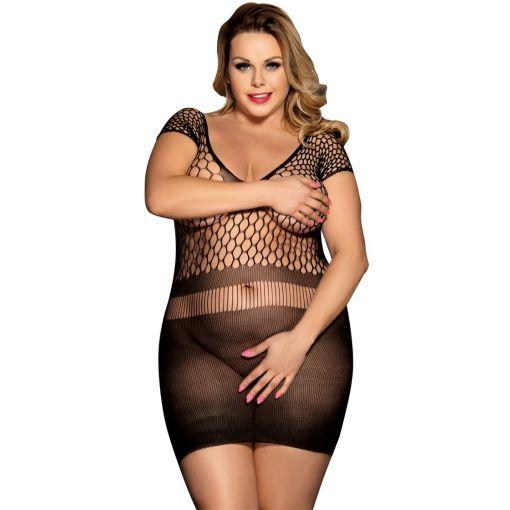 Plus Size Black Crotchet Mesh Hollow-out Mini Chemise Dress 14-18