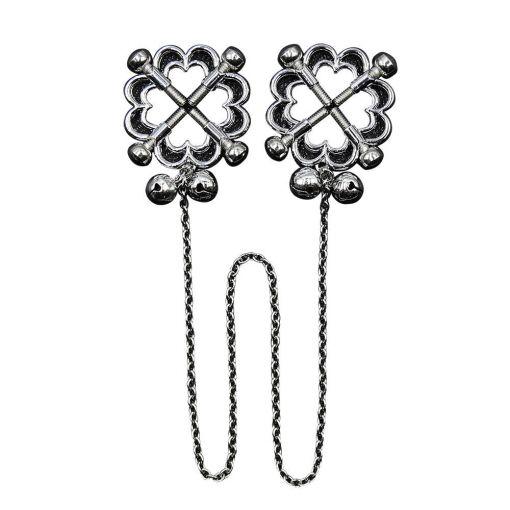 Metal Flower Nipple Clamp w Chain