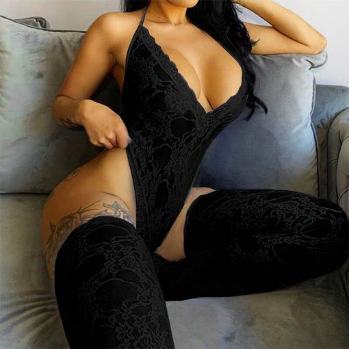 Plus Size Sexy Lace Sleeveless See-Through Backless Deep V-Neck Bodysuit with Stocking 16-18