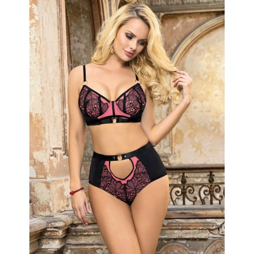 Exquisite Sexy Lace Splice Bra Set with Underwire Pink 12-14