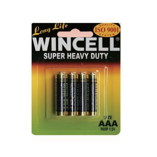 Long Life Wincell Super Heavy Duty Non Alkaline AAA 4 Pack Batteries